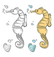 ocean wild life coloring hand drawn sea horse and vector image
