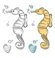 ocean wild life coloring hand drawn sea horse vector image vector image