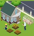 pensioners garden work isometric vector image vector image