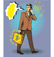 pop art of businessman talking vector image vector image