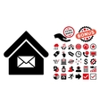 Post Office Flat Icon with Bonus vector image vector image