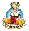 Pretty Bavarian girl with beer vector image