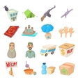 Refugees icons set cartoon style vector image vector image