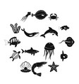 sea animals icons set simple style vector image vector image