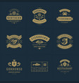 seafood logos or signs set vector image vector image