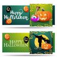 set halloween greeting cards two green horizontal vector image