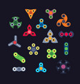 set of various type of spinners flat style vector image vector image