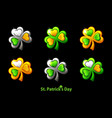 set precious clover for st patricks day vector image