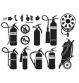 silhouette fire extinguisher flame protection vector image vector image