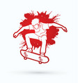 skateboarder jumping extreme sport graphic vector image