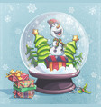 snowman christmas tree in vector image vector image