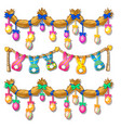 straw garland with easter eggs and paper bunnies vector image