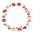 Sweets frame isolated on white vector image