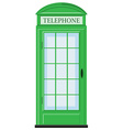 Telephone booth in green color vector image vector image