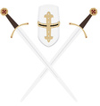 Templar swords and helmet vector image vector image