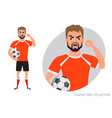 the evil soccer player threatens with his hand vector image