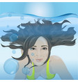 the girl swims under the water vector image vector image