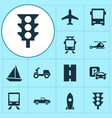 transport icons set collection of skooter vector image vector image