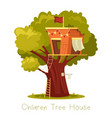 tree with children house or oak with construction vector image vector image