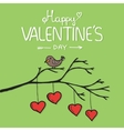 Valentine bird with card vector image