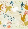 watercolor asian crane bird seamless pattern vector image
