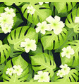 monstera palm leaves pattern and hibiscus flowers vector image