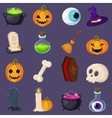 Set of Halloween related objects and creatures vector image
