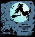 Silhouette of witch sitting on the broom vector image