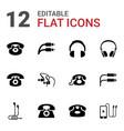 12 earphone icons vector image vector image