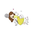 a cartoon girl and cute cats sleeping lovely pets vector image vector image