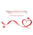 a valentine card with a red ribbon and text space vector image vector image