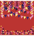background with confetti paper streamers vector image vector image