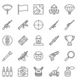 battle royale video game outline icons set vector image
