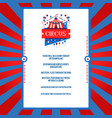bright circus poster vector image vector image