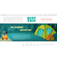 cartoon camping web page template vector image vector image