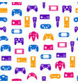 cartoon silhouette gamepad seamless pattern vector image vector image