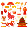 chinese new year holiday symbols icons set vector image