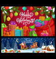 christmas reindeer sledge santa and xmas gifts vector image vector image