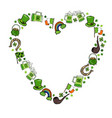 collection of irish symbols heart shape vector image