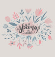 composition with spring flowers leaves vector image