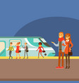couple waiting for train arrival on platform part vector image vector image