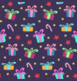 cute christmas pattern with gift boxes and stars vector image vector image