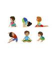cute little kids doing gymnastics and yoga vector image