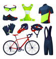 cycling equipment sport tools set icons vector image vector image