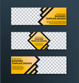 design of web banners of yellow color with black vector image vector image
