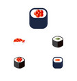 flat icon maki set of salmon rolls maki eating vector image vector image