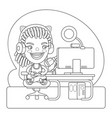 gamer coloring page vector image vector image