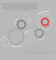 gray gear wheels with red gear symbolizing idea vector image