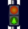 Green Christmas Traffic Lights vector image vector image