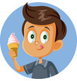 happy boy holding ice cream craving for a treat vector image vector image